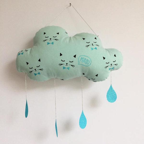 suspension nuage chat mint. Black Bedroom Furniture Sets. Home Design Ideas