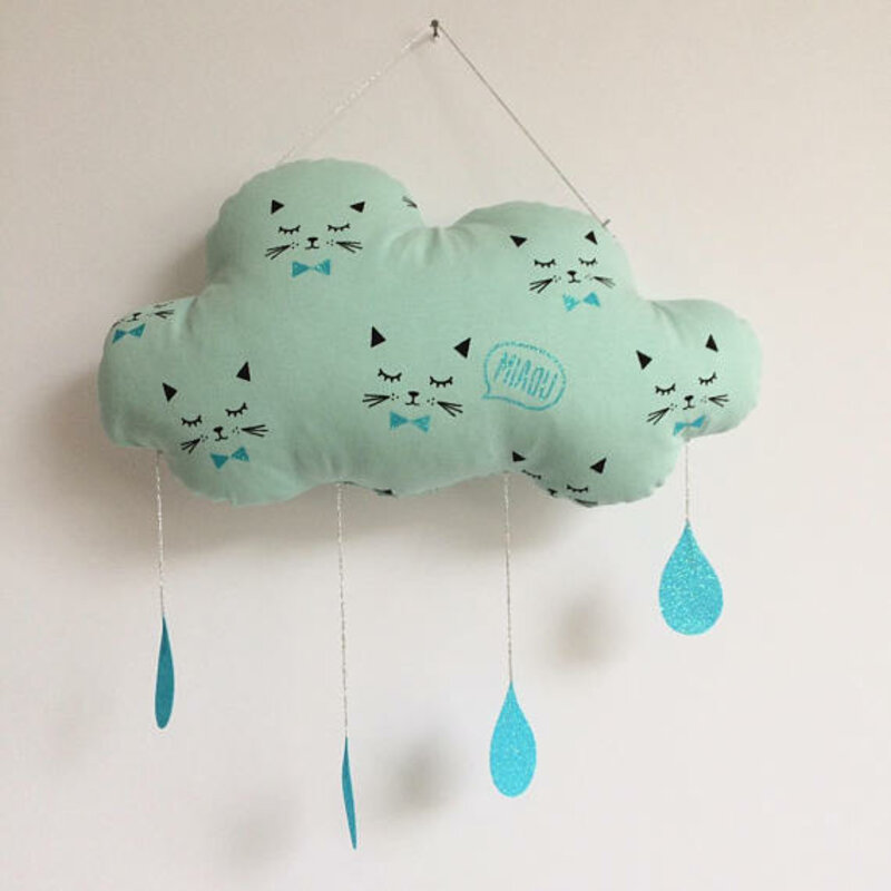 Suspension Nuage Chat mint